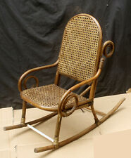 Antique Vintage Bent Wood Wooden Caned Wicker Child Childrens Kids Rocking Chair
