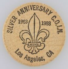 Silver Anniversary Wooden Nickel Coin 1963-1988 Convention of Int'l Numismatics