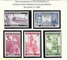 ETHIOPIA Sc 302-6 LH issue of 1950 - ANNIV OF CORONATION