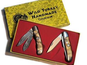 2 Piece Gift Set Wild Turkey Handmade Collection Folding Pocket Knife Hunting