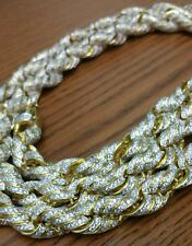 Custom made Mens Iced Out Gold CZ 10mm Rope Chain Necklace 925 Sterling Silver