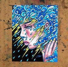 Art Print 8x10 Inch Signed Rain Clouds Lightning and Rain Crying Girl Portrait