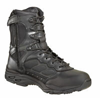 Thorogood Mens Athletic Black Leather Walking Boots 8in Nylon Side Zip