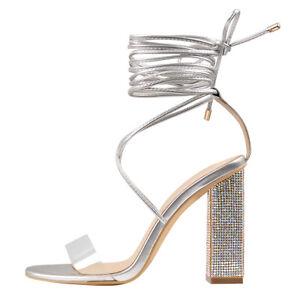 Onlymaker Women's Lace Up Block High Heel Sandals Ladies Gladiator Evening Shoes