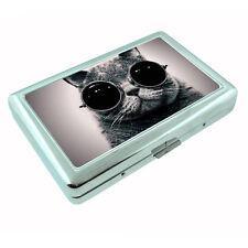 Funny Cat D7 Silver Cigarette Case / Metal Wallet Silly Kitten Cute Adorable