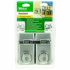Whitco DEADLATCH Double Cylinder for Timber/Metal Door- SATIN CHROME, 2pcs