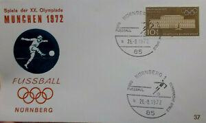 Brief Nürnberg  26.8.1972  Fußball  -  Olympische Spiele München