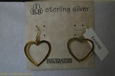 Lovely IBB 24 KT Gold Over Sterling Silver Heart Fashion Drop Earring NEW CUTE
