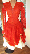 Gorgeous vintage handmade red lace dress size 12 14