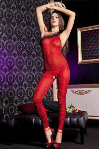Sexy Red leopard one shoulder bodystockings