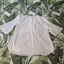 Country Road Cream Cotton Bell Sleeve Bib Yoke Blouse Top Shirt 10-12  Boho New