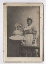 PHOTO ANCIENNE CARTE CABINET Nourrice Enfant Femme Bébé Vers 1900 Robe Fille