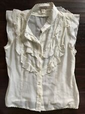 euc RUFFLE front PIRATE halloween BLOUSE women size LARGE costume or not FOREVER