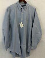 Ralph Lauren Mens YARMOUTH Dress Shirt Size 17 - 34 Cotton Oxford Blue Collared