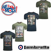 Lambretta Retro T-Shirts Print Scooter Short Sleeve MOD Mens Cotton UK S-4XL