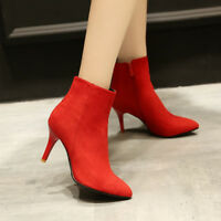 Women's Faux Suede Zip High Heel Pointed Toe Ankle Boots Shoes AU Size 2-11