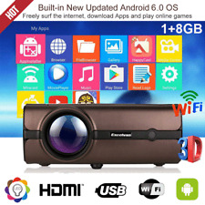 1080P Full HD LED Projector 4K WiFi Android 6.0 BT Home Theater Cinema HDMI 8GB