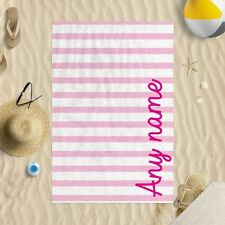 """58 x 39"""" Personalised Pink Stripes Any Name Script Font Microfibre Beach Towel"""