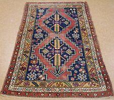 4 x 6 CAUCASIAN KAZAK Tribal Hand Knotted Wool RUST NAVY Animals Oriental Rug