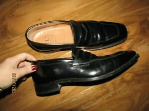 Loake L1 black leather loafers formal shoes size 10
