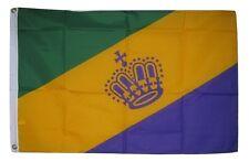 2x3 Mardi Gras King Queen Party Crown Diagonal Flag 2'x3' Banner Grommets
