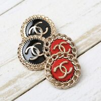 Chanel Buttons STAMPED 4pc CC Gold & Black/Red Vintage Style AUTH!!!