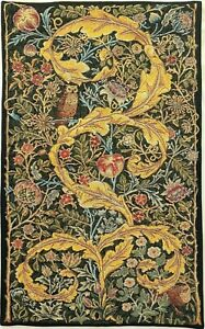 """29"""" X 18"""" WILLIAM MORRIS OWL & PIGEON LINED BELGIAN TAPESTRY WALL HANGING, 13859"""