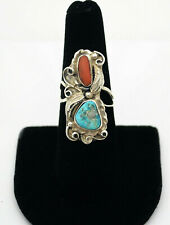 #9042- Navajo Mike Ortero Vtg Sterling Scroll & Feather Turqoise Coral Ring Sz 7