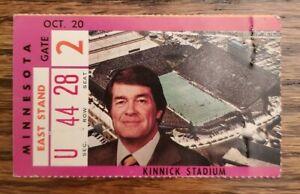 Iowa Hawkeyes Minnesota Gophers Football Ticket Stub 10/20 1979 Hayden Fry Photo