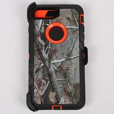 For iPhone 7 Orange/Tree Camo Case Cover (Belt Clip Fits Otterbox Defender)