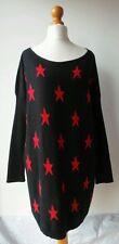 SOLANGE Jumper long black star pattern angora long sleeved UK 10