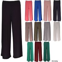Women Ladies Palazzo Plain Flared Wide Leg Baggy Trousers Plus Size Black Navy