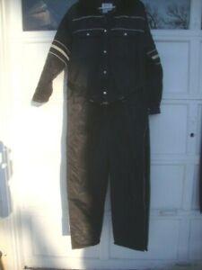 Vintage Sears Work Leisure Snowsuit Coveralls Faux Fur Collar Navy Men L 44 Hood