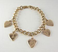 Vintage Marie Heart Charm Bracelet Wedding Jewelry Friendship Gift Gold Copper