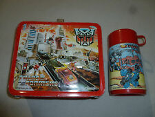VINTAGE METAL TRANSFORMERS LUNCH BOX PAIL & THERMOS RARE 1986 HASBRO ALADDIN