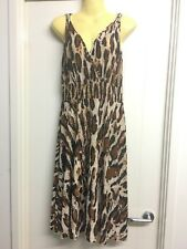 SSF Sz M Brown & Cream Animal Print Mid Length Maxi Party Formal Dress  # 834