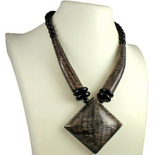 Natural buffalo horn brown oversized big pendant wood bead choker necklace