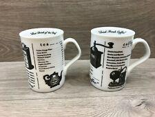 2 x Whittard Of Chelsea Tea & Coffe Vintage Design Mugs