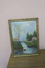 "Antique Polish Artist Signed Biesiadecki Oil Painting  11""x14""  Framed 10""x13"""