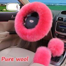 1 Set Pink Color Woolen Super Soft Steering Wheel Cover Protector Comfortable B
