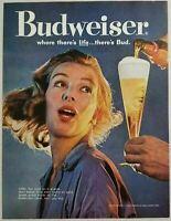 1960 Print Ad Budweiser Beer Pretty Woman & Glass of Bud