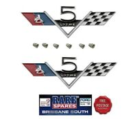 PAIR (2) HOLDEN HK HT 307 CHEV ENGINE 5 LITRE GUARD BADGE  MONARO GTS