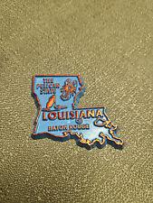 Louisiana Souvenir Fridge Magnet - Baby Blue W/Orange