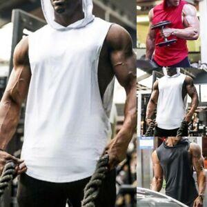 Uomo con Cappuccio Palestra Top senza Maniche Gilet Felpa Bodybuilding Canotta
