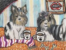 Biewer Terrier Drinking Coffee Original Pastel Painting 9x12 Gothic Vamp Dog Art