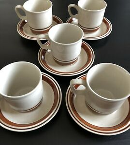 Chateau Stoneware Sienna Hand Painted Brown Japan Coffee Cups & Saucers (5)