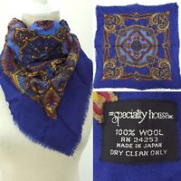 """Vintage Japan Made The Specialty House 28"""" Square Scarf 100% Wool Blue Paisley"""