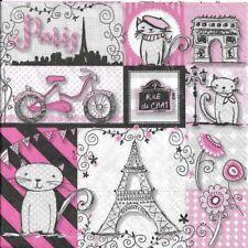 Lot de 2 Serviettes en papier Paris Rue de Chat Decoupage Collage Decopatch