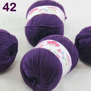 Sale 4Ballsx50gr Baby Cashmere Silk Wool Children hand knitting Crochet Yarn 42