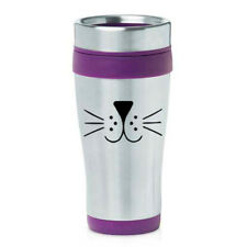 16 oz Travel Coffee Mug Cat Face Whiskers